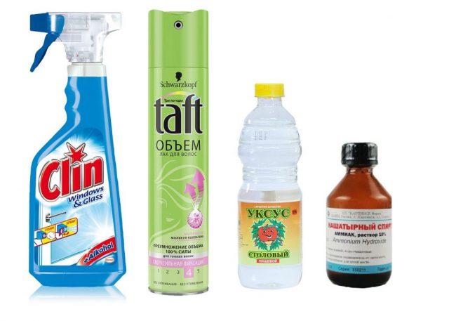 Соль, нашатырный спирт и лимонный сок для удаления лизуна